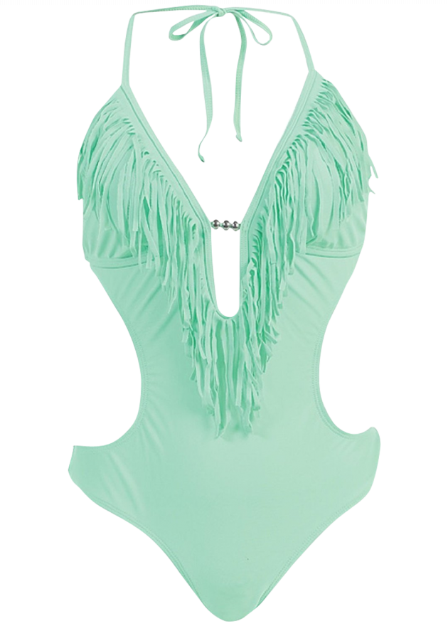 Fringed Plunge Monokini Swimsuit